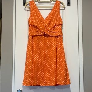 Polk dot faux wrap dress